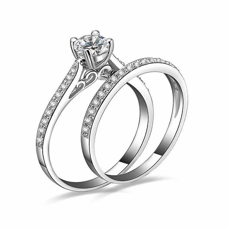 FUNIQUE 2019 เงินคริสตัลชุดแหวนผู้หญิงประณีต Bijoux หมั้น Cubic Zirconia แหวนคู่ชุดเครื่องประดับ