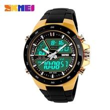 2014 Reloj para hombre marca casual Reloj de cuarzo digital 2 zonas horarias Relojes de pulsera para vestir elegante Relojes militares sumergibles LED