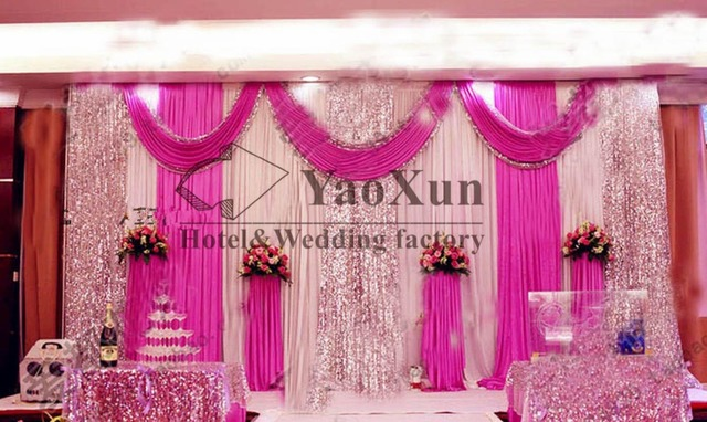 Wedding Stage Decoration Price : Aliexpress buy white and fuchsia color wedding