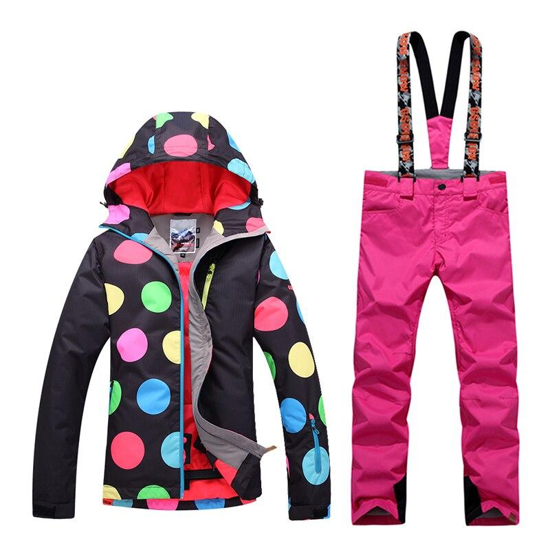 GsouSnow hiver femmes de ski costumes coupe-vent imperméable escalade chaud costume charge vêtements plaque simple et double coloré