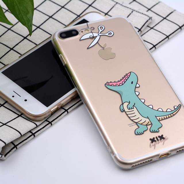 Cartoon Transparent Soft Phone Case for iPhone