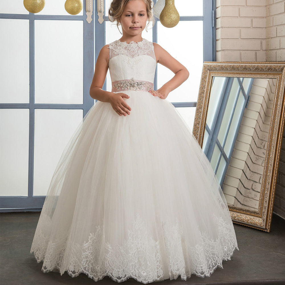 2017 New Flower Girls Pageant Dresses Ivory Lace Up Sleeveless O-Neck Ball Gown Holy Communion Dresses Hot Vestidos De Comunion