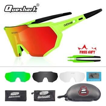 5d040fa1e4 QUESHARK 2019 nuevo diseño polarizado gafas ciclismo para hombre mujer  bicicleta gafas ciclismo gafas de sol 4 lente espejo UV400 gafas