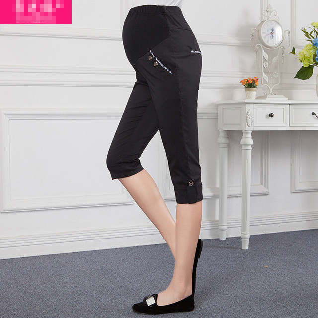 Plus Size 2016 Summer Maternity Pants Casual High Waist  Pregnancy Trousers and Capris Black and Gray Pants for Pregnant Women