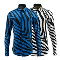 New Luxury Men Shirts Fashion Zebra Stripes Fancy Shirts Mens Cotton Slim Fit Long Sleeve Baroque Glod Froal Royal Mens Clothes