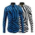 Nuevos hombres de lujo camisas moda rayas de la cebra de lujo de algodón para hombre Slim Fit de manga larga barroco Glod Froal real ropa para hombre