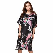 Sexy Black Female Silk Rayon Robe Bath Gown Nightgown Summer Casual Home  Dress Printed Peacock Sleepwear 34bbd58640e9