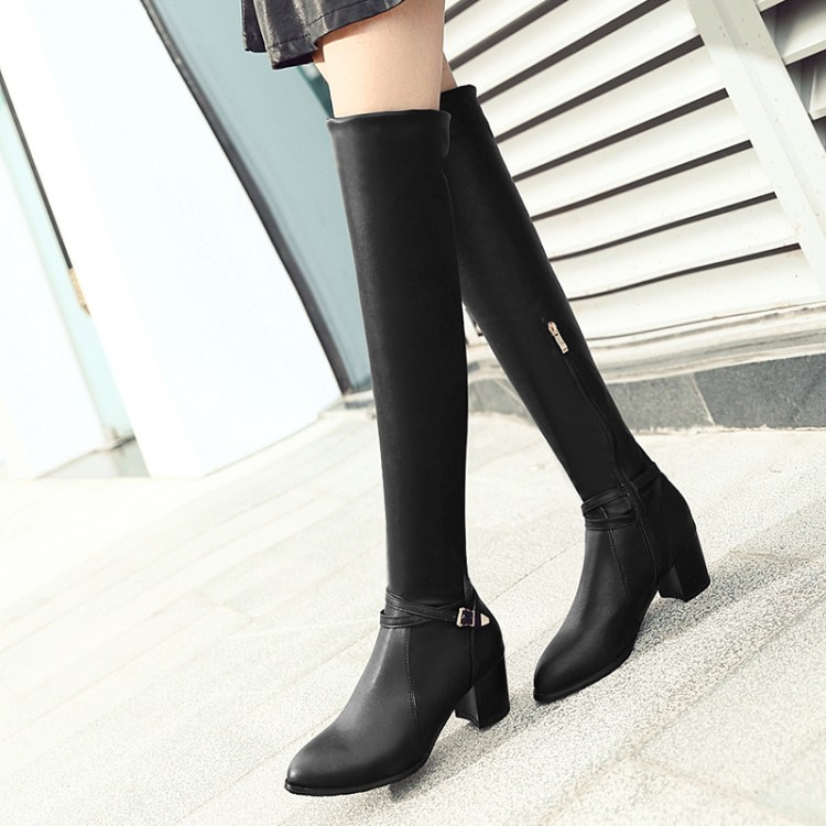 Winter Boots 2016 Big Size 34-43 Women Over the Knee Boots Sexy Chunky Heels pointed Toe Spring Autumn Shoes Less Platform F12 lanyuxuan big size 33 50 women sexy high heels short boots autumn winter shoes pointed toe platform knight martin boots 2 3