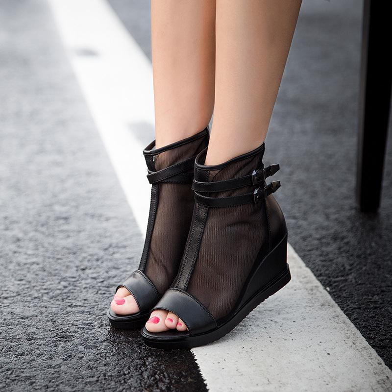 2015 new spring summer fish mouth leather peep-toe sandal wedges women mesh comfortable breathable Roman shoes - sanpu ma's store
