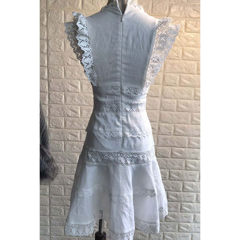 Dentelle Blanc Mode Taille Robe Sirène Patchwork V cou Femmes Définie 2019 wq4cgfRWq