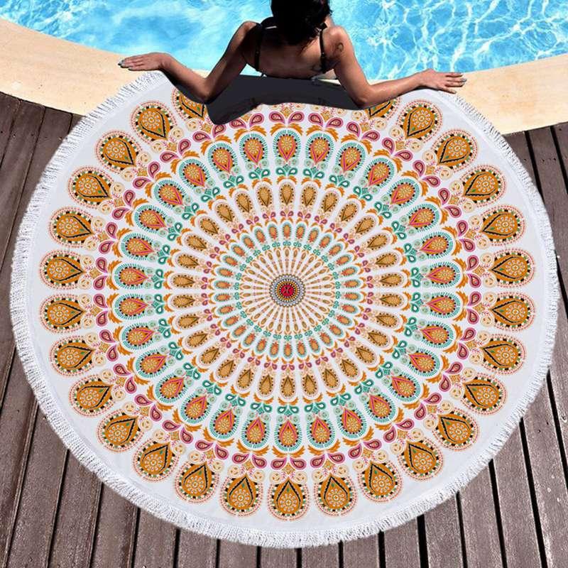 @1  Пляжное полотенце Bohemia Style Печатные бахромой кисточки из микрофибры круглое одеяло 5 стилей йог ①