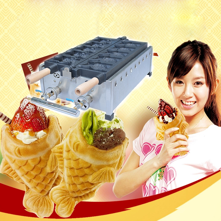 1PC FY-1101B.R Gas type fish waffle grill,fish waffle maker,fish cake oven,with recipe,Gas opening snapper burn machine 1pc popular waffle cookie maker cool touch exterior cake making machine with grilling press plates for restaurant fy 2201