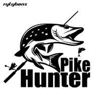 rylybons 1Pcs 25cm*22.5cm cartoon Car-Styling Fashion Pike Hunter Fishing Bite body Car Stickers and decals animal for Ford kia