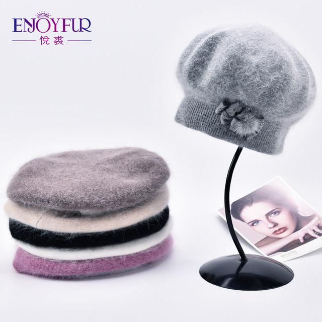 4ae4e03b5a3 Online Shop ENJOYFUR Cashmere Beret Hat Female Rabbit Knitted Winter ...
