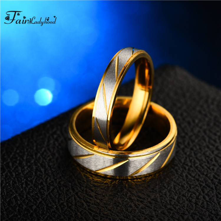 FairLadyHood Fashion Simple Gold Color Couple Flowers Striped Stainless Steel Men And Women Wedding Ring in Rings from Jewelry Accessories