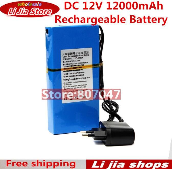 12000MAH Large Capacity Long Battery Life DC 12V Rechargeable Li-ion Battery Portable Li-ion Backup Battery For CCTV Camera 12v 1800mah rechargeable portable emergency power li ion battery for cctv devices