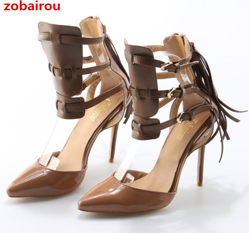 Zobairou Black/Brown Dolores Tassel Pumps Sexy Pointed Toe High Heels Gladiator Strappy Women Fringed Party Dress Pumps Shoes
