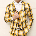 Suit Men Paid Outfits Social Terno Masculina Slim Fit Wedding Dress Suits Stage Costumes Men's Plaid Blazer Fashion Vest MUS027