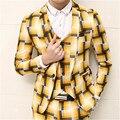Terno Homens Pagaram Outfits Terno Masculina Sociais Slim Fit Ternos de Vestido de Casamento Palco Trajes Blazer Xadrez masculina Moda Vest MUS027