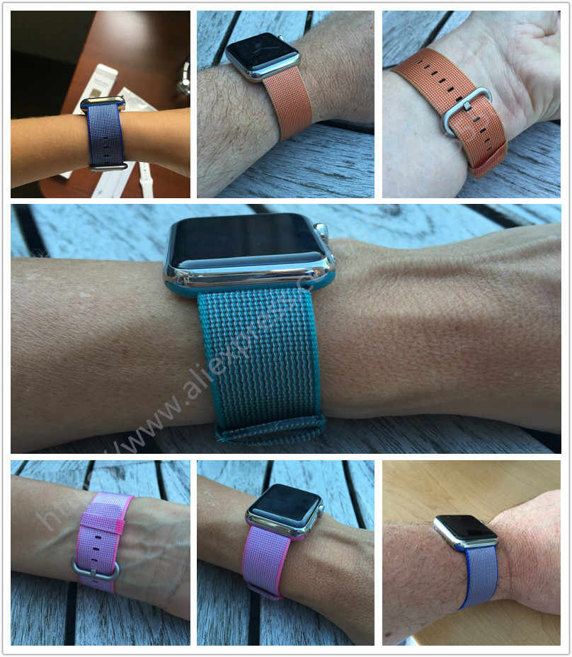 2017 New Colorful Woven Nylon Watch Band For Apple Watch Fabric-like feel Wrist Strap with Metal Adapter for iwatch 38mm/42mm