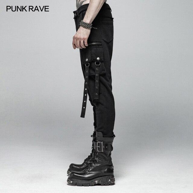 PUNK RAVE Men Punk Rock Black Knit Trousers Casual Men Streetwear Big Pocket Long Punk Cross Pants 19