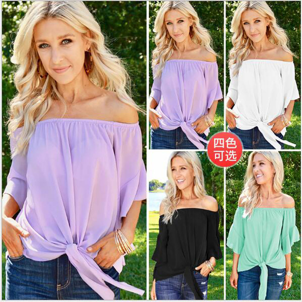 New Fashion Sexy Women Ladies Off Shoulder Slash Neck Beach T Shirt Casual Loose Solid Cotton Tops Streetwear T Shirt in T Shirts from Women 39 s Clothing