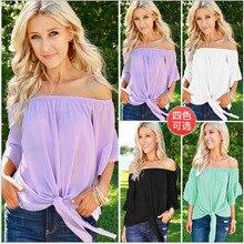 купить New Fashion Sexy Women Ladies Off Shoulder Slash Neck Beach T-Shirt Casual Loose Solid Cotton Tops Streetwear T-Shirt дешево