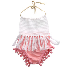 2016 Fashion Newborn Infant Baby Girls backless Clothes Tassels Strap Romper Jumpsuit Outfits