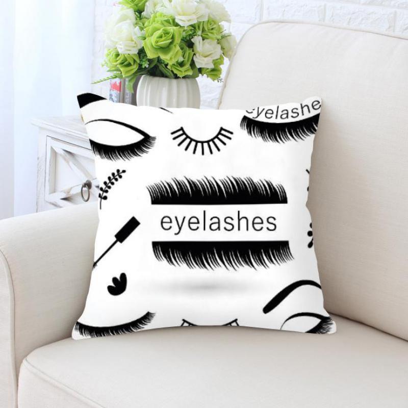 Black And White Pillow Eyelashes Natural False Long Eyelash Decoration Sexy Red Lip Plush Fabric Cushion For Girls Room Decor