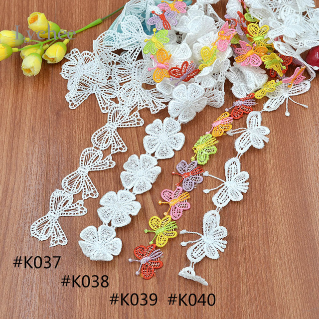 Lychee 1 Yard DIY Bow Flower Shaped Sewing Craft Trim Lace Sewing Trim Embroidered Butterfly Applique Lace Trim