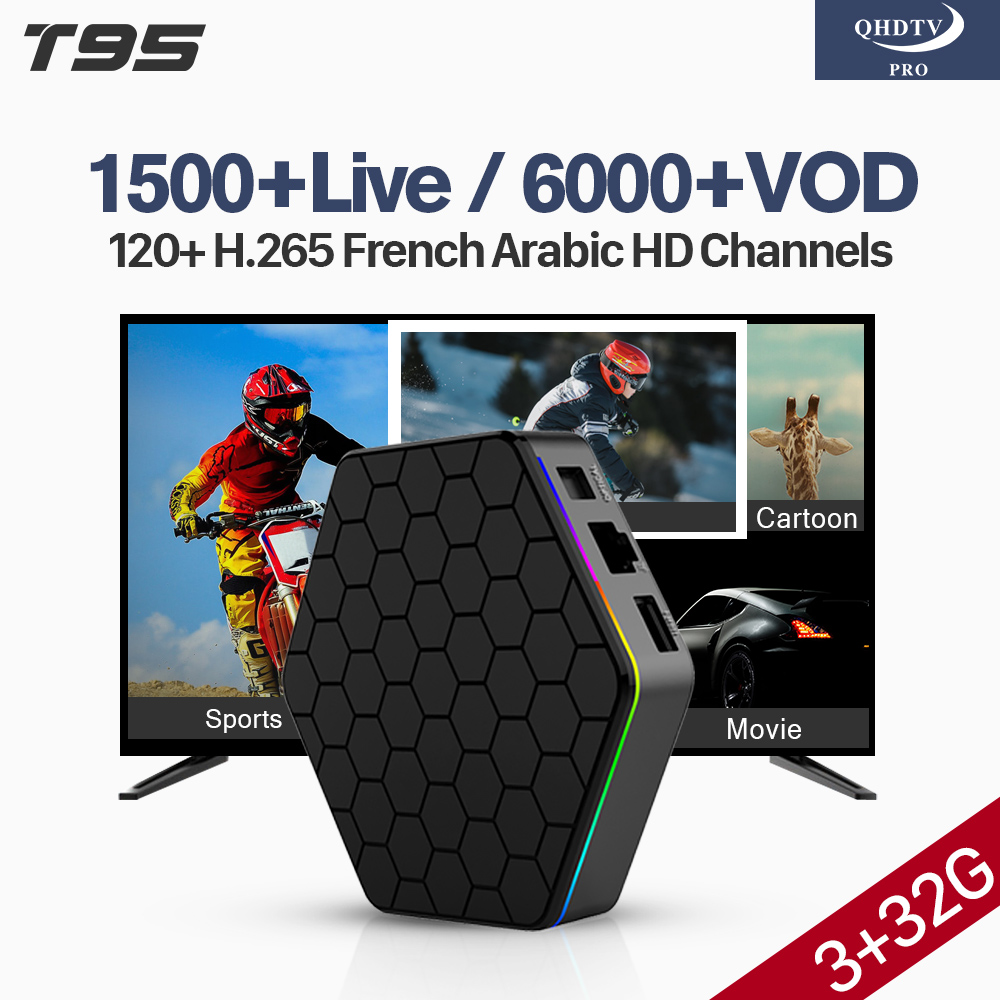 T95Z Plus Box avec 1 an QHDTV Pro arabe français IPTV abonnement Android Box 3G 32G S912 pays-bas belgique QHDTV Pro IPTV