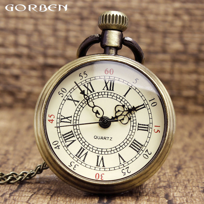 Simple Pocket Watch Quartz Roman Numerals Bronze Tone Steampunk 82cm Dropshipping Transparent Clock