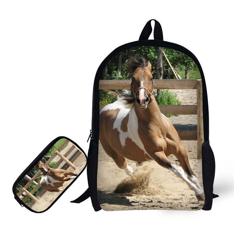 Horses Printing Children Backpack+Pencil case for High School Backpacks for Primary school students Teenagers Mochila inclusion for primary school teachers