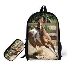 Купить с кэшбэком Horses Printing Children Backpack+Pencil case for High School Backpacks for Primary school students Teenagers Mochila