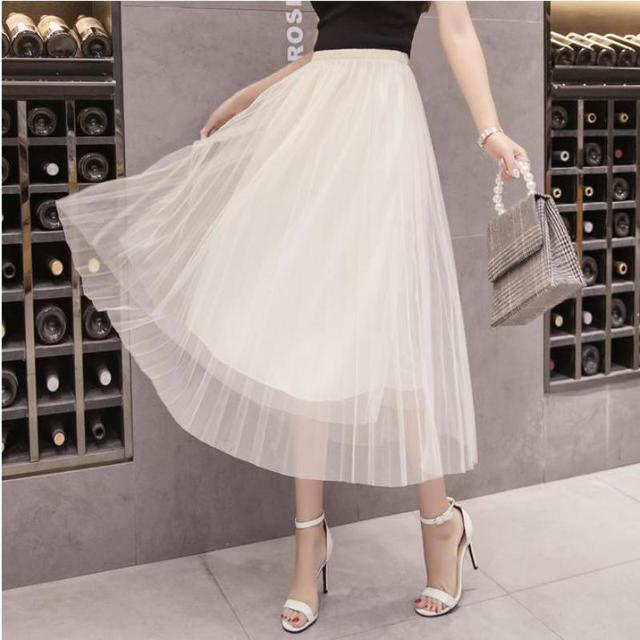 df16cca227 New Brand AN MO YQN 2018 Summer Korean Women Double Layer Mesh Skirt Lace  Harajuku Elastic