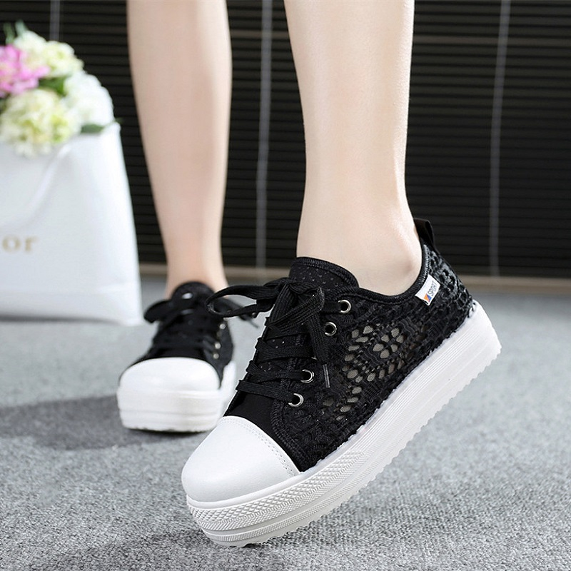 Platform Canvas Women's Vulcanize Shoes Casual Mesh Women Breathable Shoes Ladies Fashion Shoes Lace-Up Female Footwear ABT740 de la chance women vulcanize shoes platform breathable canvas shoes woman wedge sneakers casual fashion candy color students
