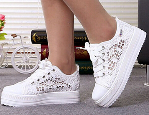 Plus size 3 5cm Women Platform Flats Fashion Lace Hollow Floral White Casual Canvas Shoes Low