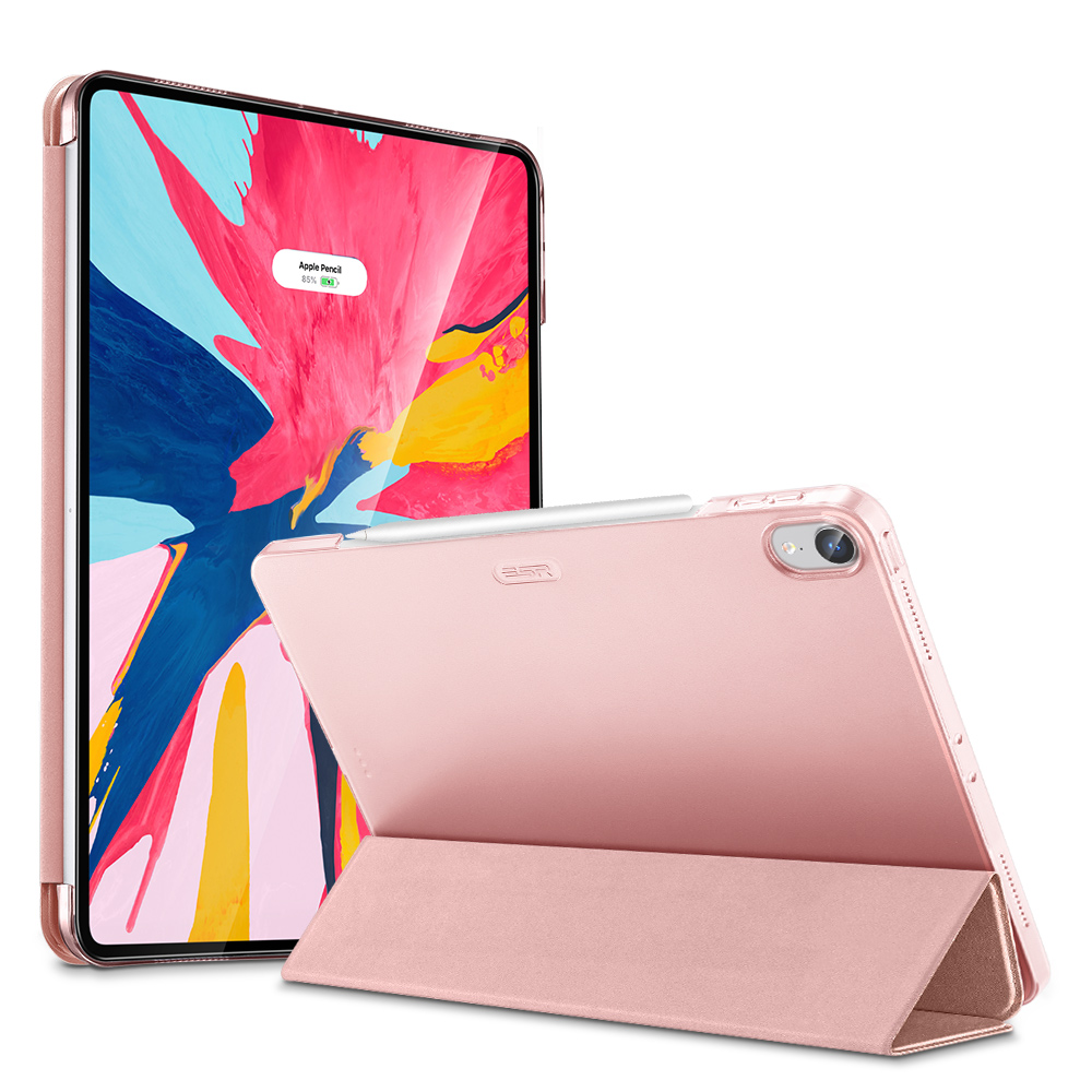 Pink ESR Magnetic Flip Case with Transparent Back and 3-stand for iPad Pro 12.9 2018