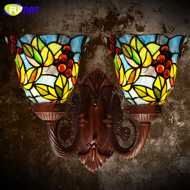 FUMAT led Wall Lamp living room Lamp Grape Stained Glass Lampshade Corridor Lights LED Wall Light for Bedroom Restaurant Kitchen