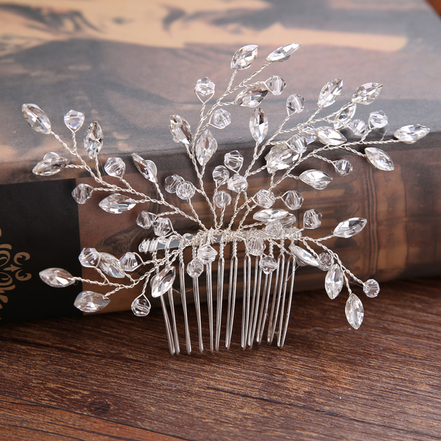 Duolafine Hair Jewelry Handmade Flower Crystal Pearl Wedding Hair Accessories Hair Comb Bridal tiara hair ornaments Wholesale
