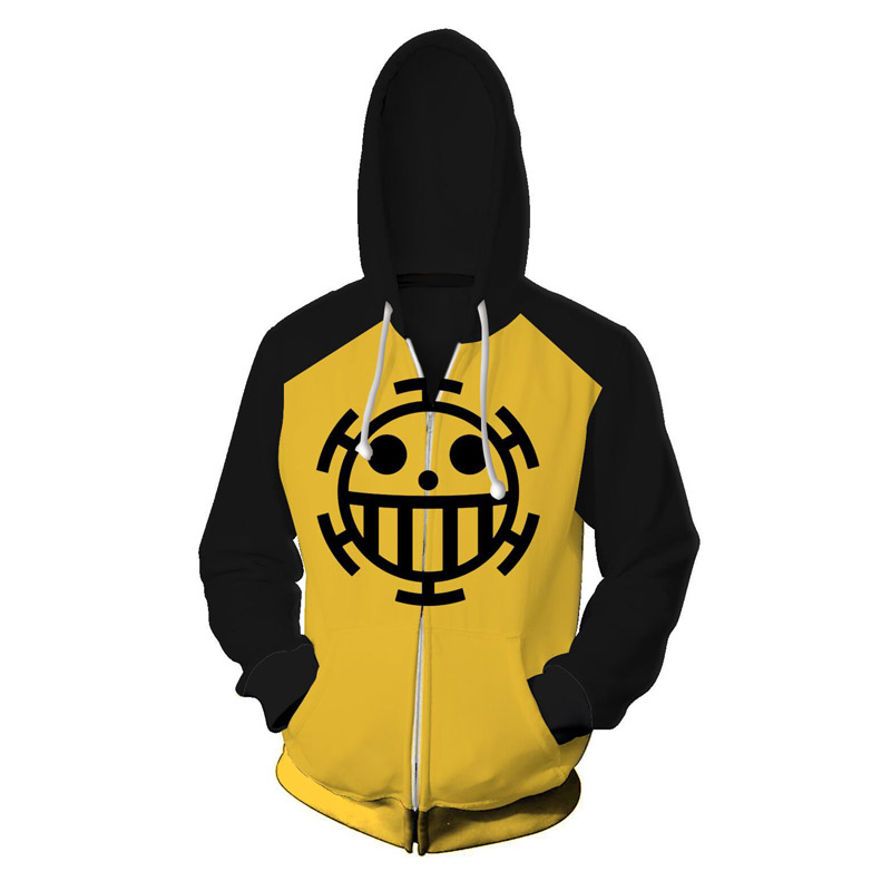 Anime One Piece Hoodie Sweatshirts Trafalgar Law Cosplay Pirates Of Heart Print Thin Pullover Hoodies Tops Outerwear Coat Outfit