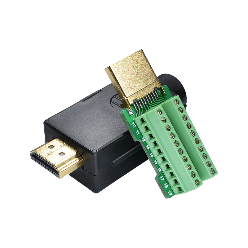 HDMI 2.0 HD Adapter Male Connector Breakout to 19P Terminal Board, No Need Soldering High Quality, with housing Shell 2pcs hdmi 2 0 hd adapter male connector breakout to 19p terminal board no need soldering high quality with housing shell