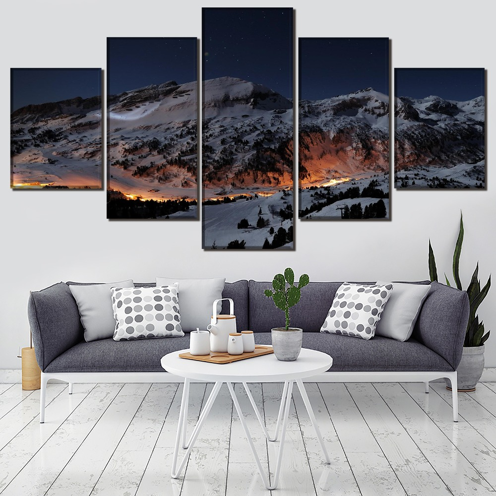 Snowfield Landscape HD Print Wall Art Canvas Painting Modern Home Canvas Wall Art For Living Room Painting Home Decor Picture in Painting Calligraphy from Home Garden