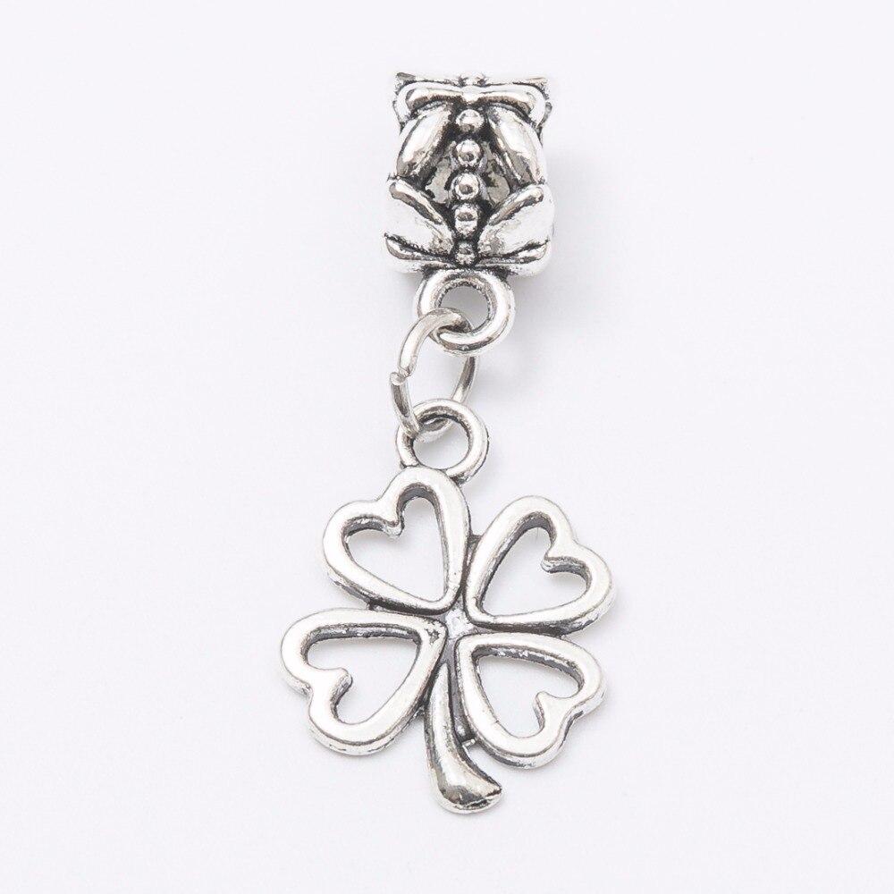 30pcs Four leaf flowers silver Bead fit Pandora charm bracelet DIY dangle Charm for pendants jewelry making JS1085