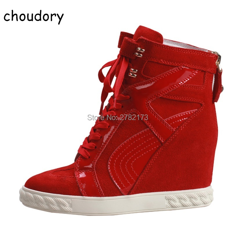 High Top Casual Suede Lace Up Wedge Shoes Height Increasing Woman Ankle Booties Shoes Platform Spring Autumn Rome Style Shoes latest fringed women platform wedge casual shoes height increasing lace up suede ankle boots spring autumn lady high top shoes