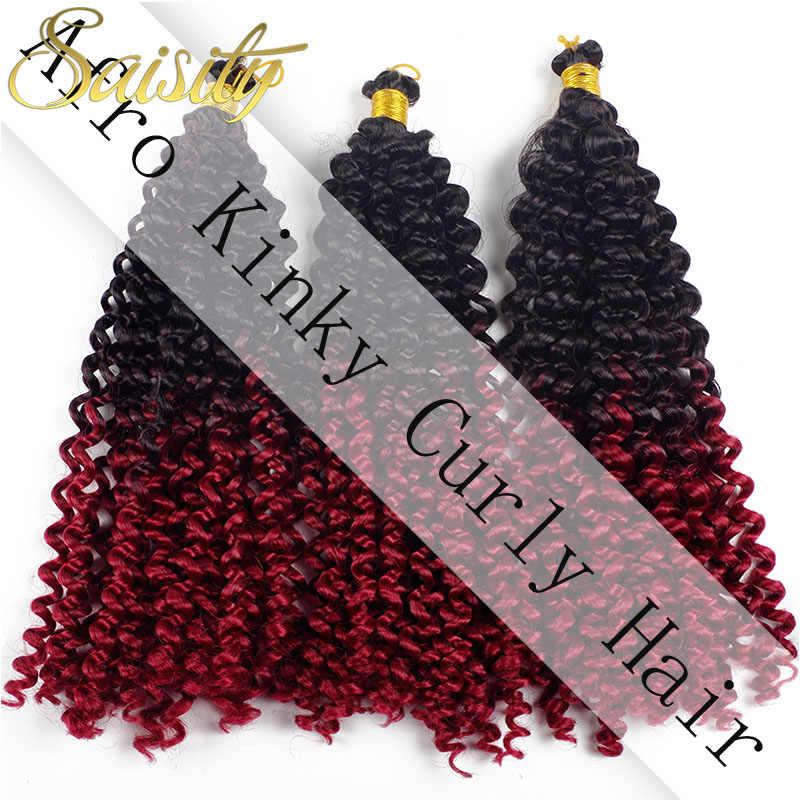 Saisity афро кудрявые вязанные волосы для наращивания, вязанные крючком косы, низкотемпературное волокно, синтетические косички, волосы оптом