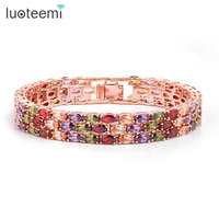 Teemi New Style High Quality 18K Rose Gold Plated Mona Lisa Zircon Bracelet For Women Multicolor