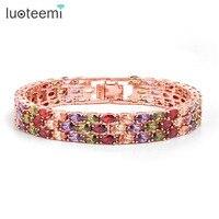 Teemi New Style High Quality 18K Rose Gold Plated Mona Lisa Zircon Bracelet For Women Multicolor