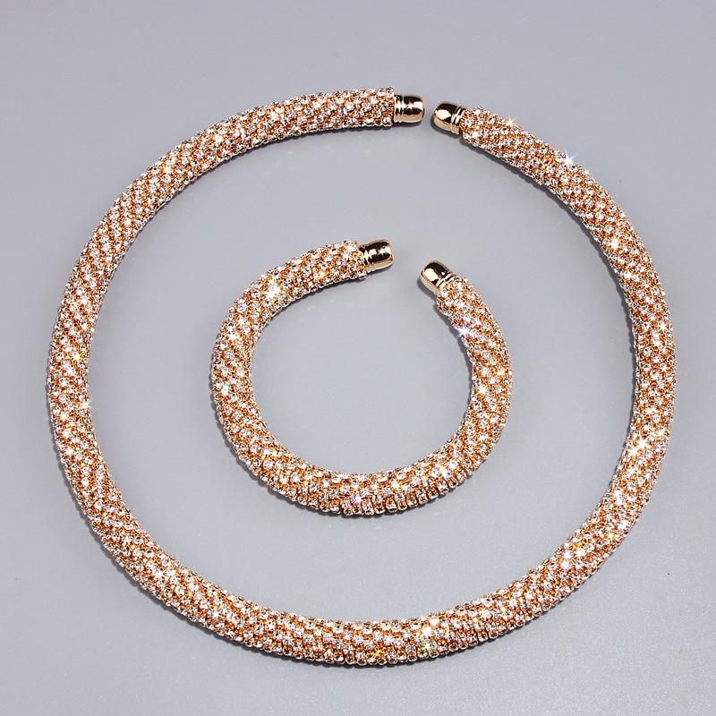 Novi Disign Luksuzni Maxi Crystal Ogrlica Ogrlica Zlato / Srebro - Modni nakit - Foto 3
