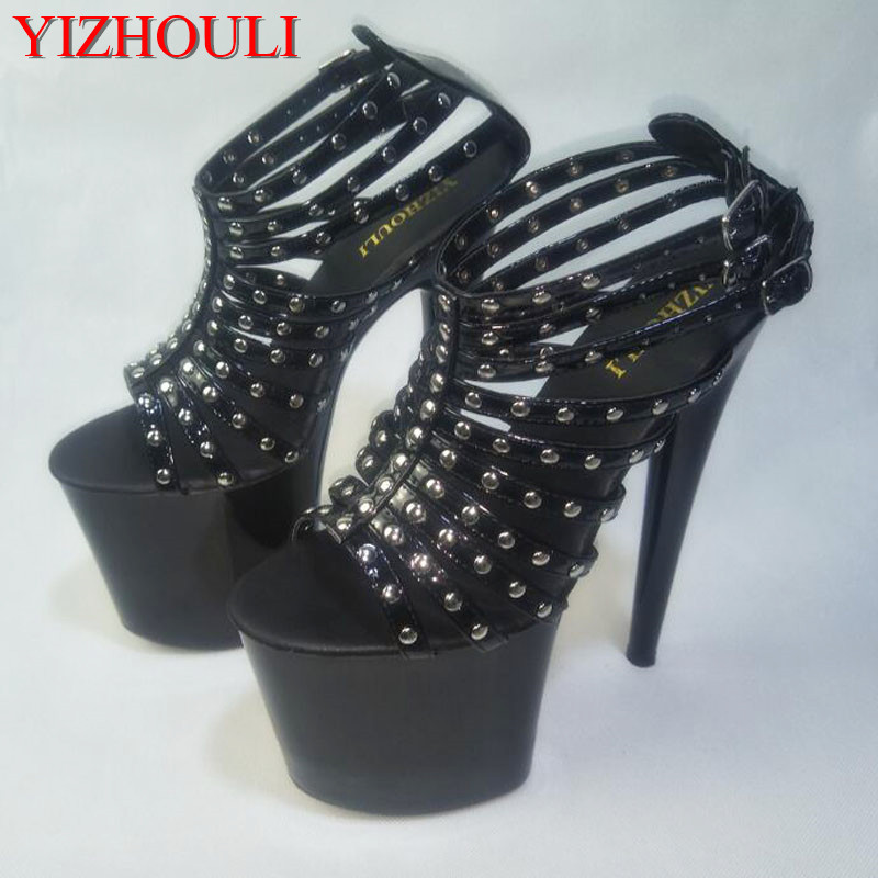 Rivet decoration Sexy fashion, 20cm Super High-heeled Platform Pole Dance Performance Inch Wedding Shoes 20cm sexy ultra high heeled platform shoes performance shoes platform black pu leather single shoes 8 inch fashion crystal shoes